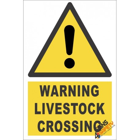 Livestock Crossing Warning Sign