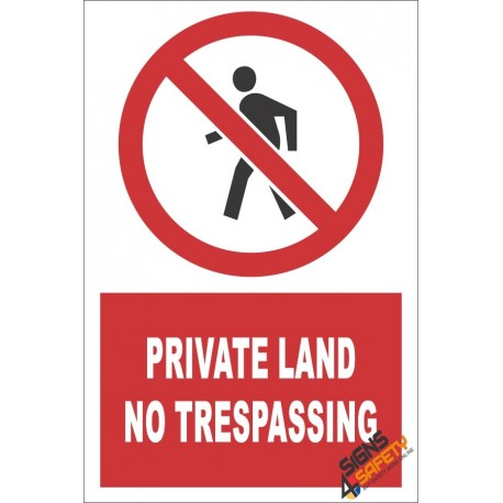 Private Land, No Trespassing Sign