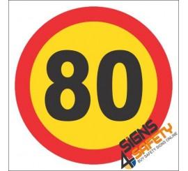 80km/h Speed Limit Hazchem Sign