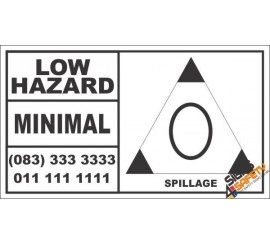 Low Hazard Spillage Hazchem Sign (Bakkie)