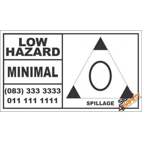 Low Hazard Spillage Hazchem Sign (Bakkie)