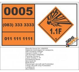 UN0005 Cartridges For Weapons Hazchem Placard