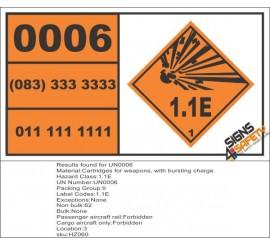 UN0006 Cartridges For Weapons (1.1E) Hazchem Placard