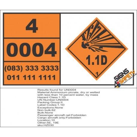 UN0004 Ammonium Picrate Hazchem Placard