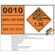UN0010 Incendiary Ammunition (1.3G) Hazchem Placard