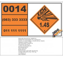 UN0014 Cartridges For Weapons (1.4S) Hazchem Placard