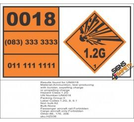 UN0018 Ammunition, Tear Gas (1.2G) Hazchem Placard
