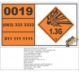 UN0019 Ammunition, Tear Gas (1.3G) Hazchem Placard