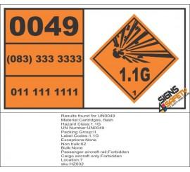 UN0049 Cartridges, Flash Hazchem Placard