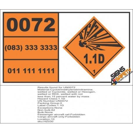 UN0072 Cyclotrimethylenetrinitramine, wetted Hazchem Placard