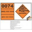 UN0074 Diazodinitrophenol, wetted Hazchem Placard