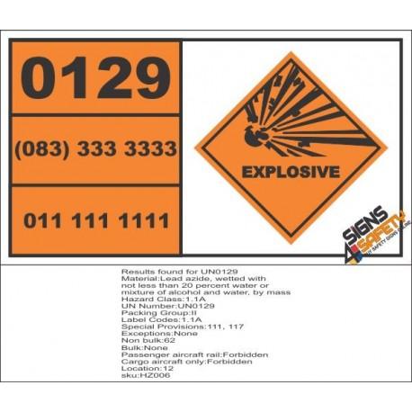 UN0129 Lead Azide, Wetted Hazchem Placard