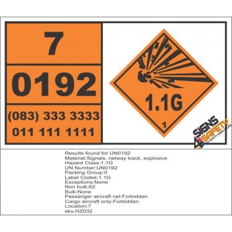 UN0192 Signals, Railway Track, Explosive Hazchem Placard
