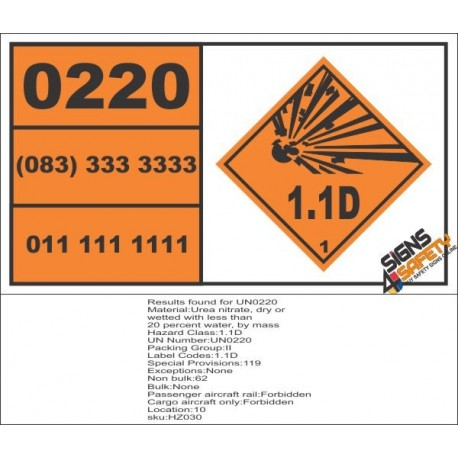 UN0220 Urea Nitrate, Dry Or Wetted Hazchem Placard