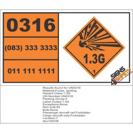 UN0316 Fuzes, Igniting (1.3G) Hazchem Placard