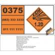 UN0375 Sounding Devices, Explosive (1.2D) Hazchem Placard