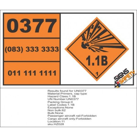 UN0377 Primers, Cap Type (1.1B) Hazchem Placard