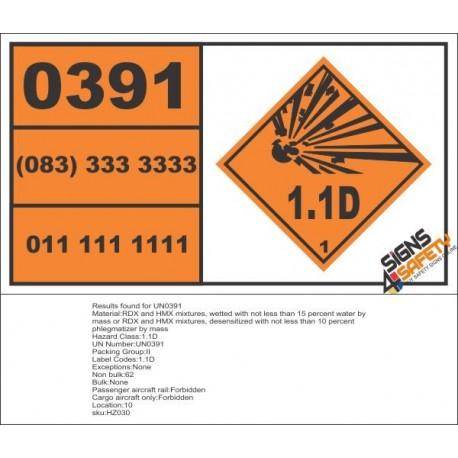 UN0391 RDX And HMX Mixtures, Wetted (1.1D) Hazchem Placard