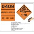UN0409 Fuzes, Detonating, With Protective Features (1.2D) Hazchem Placard
