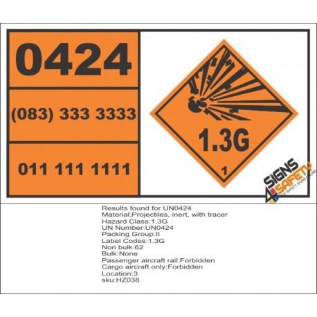 UN0424 Projectiles, Inert, With Tracer (1.3G) Hazchem Placard