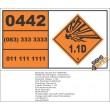 UN0442 Charges, Explosive, Commercial Without Detonator (1.1D) Hazchem Placard