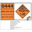 UN0444 Charges, Explosive, Commercial Without Detonator (1.4D) Hazchem Placard