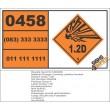 UN0458 Charges, Bursting, Plastics Bonded (1.2D) Hazchem Placard