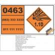 UN0463 Articles, Explosive, N.O.S (1.1D) Hazchem Placard