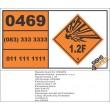 UN0469 Articles, Explosive, N.O.S (1.2F) Hazchem Placard