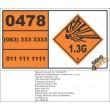 UN0478 Substances, Explosive, N.O.S (1.3G) Hazchem Placard