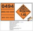 UN0494 Jet Perforating Guns, Charged, Oil Well, Without Detonator (1.4D) Hazchem Placard