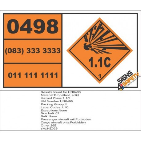 UN0498 Propellant, Solid (1.1C) Hazchem Placard