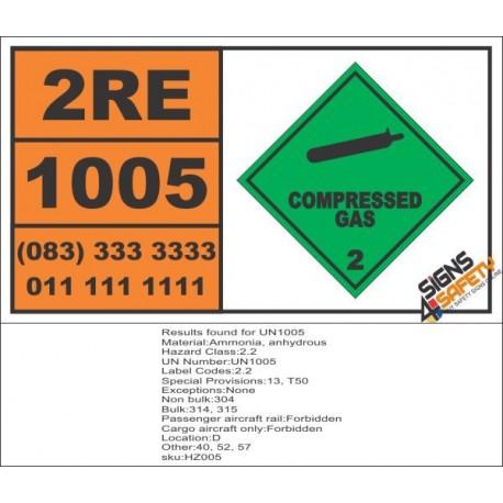 UN1005 Ammonia, Anhydrous, Compressed Gas (2), Hazchem Placard