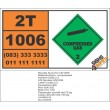 UN1006 Argon, Compressed Gas (2), Hazchem Placard