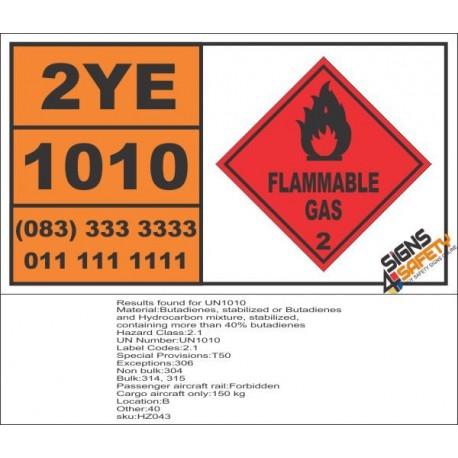 UN1010 Butadienes, Stabilized Or Butadienes, And Hydrocarbon Mixture, Flammable Gas (2), Hazchem Placard