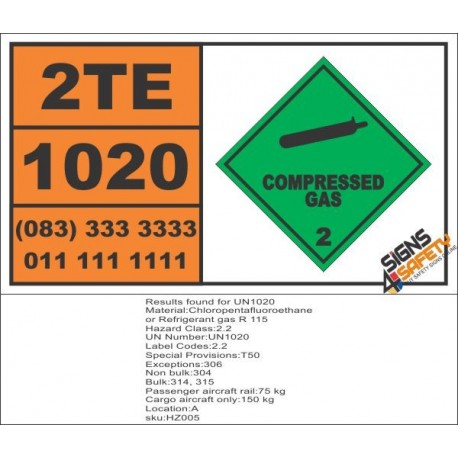 UN1020 Chloropentafluoroethane Or, Refrigerant Gas R 115, Compressed Gas (2), Hazchem Placard