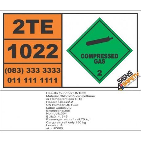UN1022 Chlorotrifluoromethane, or Refrigerant Gas R 13, Compressed Gas (2), Hazchem Placard