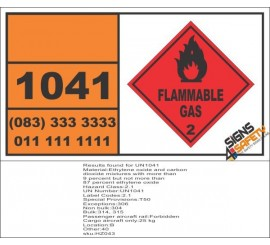 UN1041 Ethylene Oxide, Carbon Dioxide Mixtures, Flammable Gas (2), Hazchem Placard