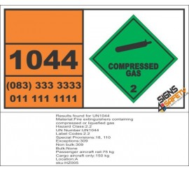 UN1044 Fire Extinguishers, Containing Compressed, Or Liquefied Gas, Compressed Gas (2), Hazchem Placard