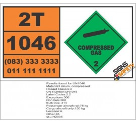 UN1046 Helium, Compressed, Toxic Gas (2), Hazchem Placard