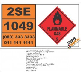 UN1049 Hydrogen, Compressed, Flammable Gas (2), Hazchem Placard