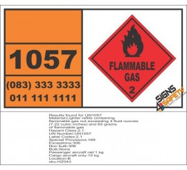 UN1057 Lighter Refills Containing, Flammable Gas (2), Hazchem Placard
