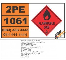 UN1061 Methylamine, Anhydrous, Flammable Gas (2), Hazchem Placard