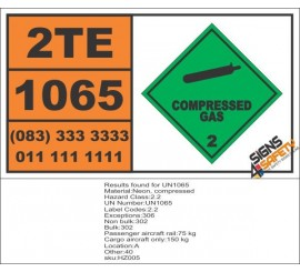 UN1065 Neon, Compressed Gas (2), Hazchem Placard