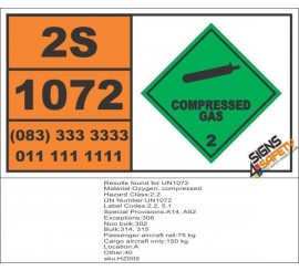 UN1072 Oxygen, Compressed Gas (2), Hazchem Placard