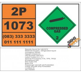 UN1073 Oxygen, Refrigerated Liquid, (Cryogenic Liquid), Compressed Gas (2), Hazchem Placard