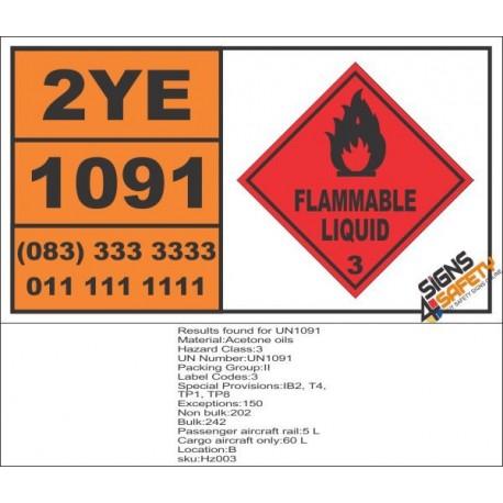 UN1091 Acetone Oils, Flammable Liquid (3), Hazchem Placard
