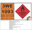 UN1093 Acrylonitrile, Stabilized, Flammable Liquid (3), Hazchem Placard