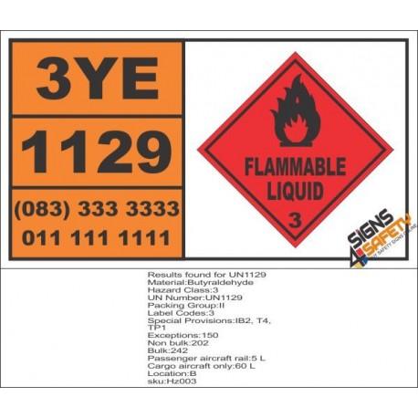 UN1129 Butyraldehyde, Flammable Liquid (3), Hazchem Placard