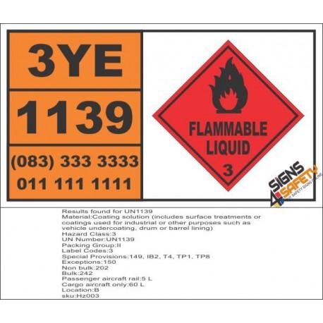 UN1139 Coating solution, Flammable Liquid (3), Hazchem Placard